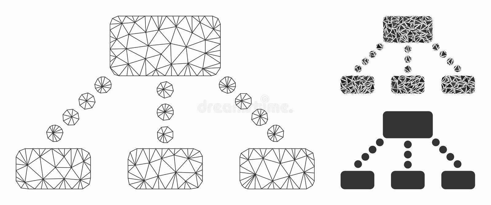 Hierarchy Vector Mesh Network Model and Triangle Mosaic Icon vector illustration