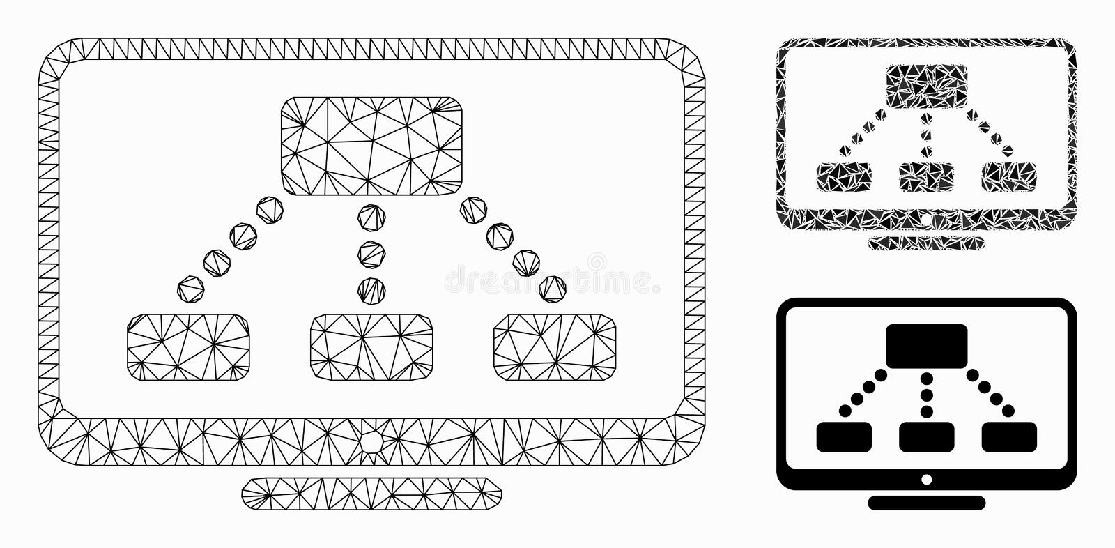 Hierarchy Monitor Vector Mesh 2D Model and Triangle Mosaic Icon stock illustration