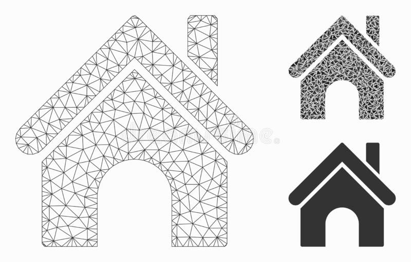Home Vector Mesh Carcass Model and Triangle Mosaic Icon. Mesh home model with triangle mosaic icon. Wire carcass triangular mesh of home. Vector mosaic of royalty free illustration