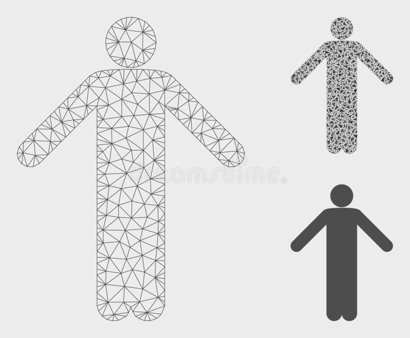 Ignorance Pose Vector Mesh Carcass Model and Triangle Mosaic Icon. Mesh ignorance pose model with triangle mosaic icon. Wire frame polygonal network of ignorance royalty free illustration