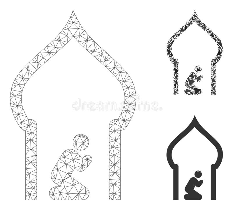 Islamic Church Vector Mesh Wire Frame Model and Triangle Mosaic Icon stock illustration