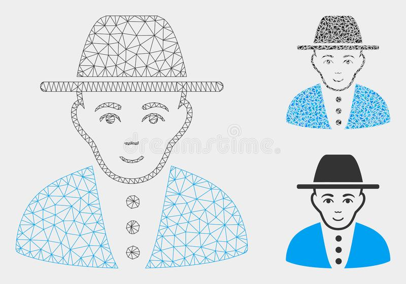 Jew Vector Mesh Wire Frame Model and Triangle Mosaic Icon. Mesh jew model with triangle mosaic icon. Wire carcass polygonal mesh of jew. Vector mosaic of stock illustration