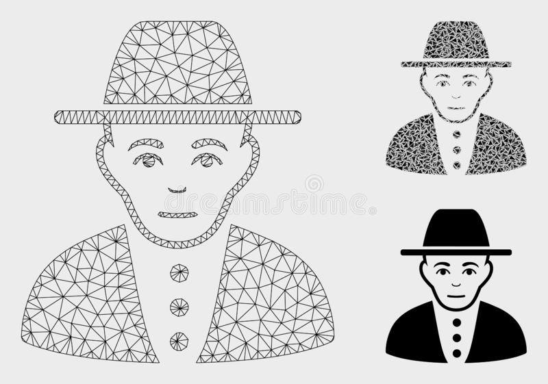 Jew Vector Mesh Wire Frame Model and Triangle Mosaic Icon. Mesh jew model with triangle mosaic icon. Wire carcass triangular mesh of jew. Vector composition of vector illustration
