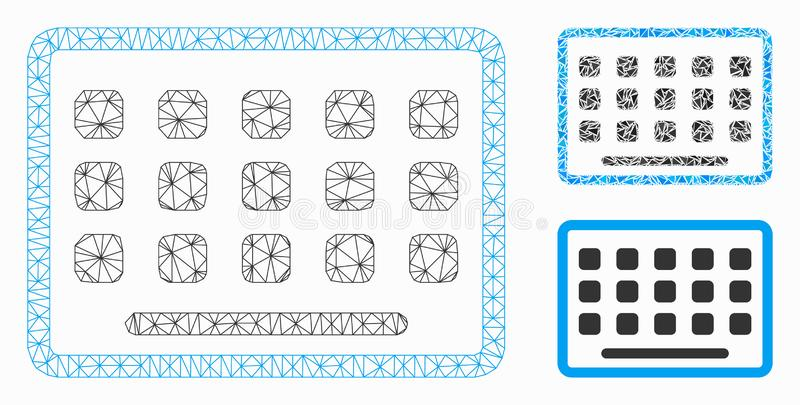 Keyboard Vector Mesh Wire Frame Model and Triangle Mosaic Icon. Mesh keyboard model with triangle mosaic icon. Wire frame polygonal mesh of keyboard. Vector royalty free illustration