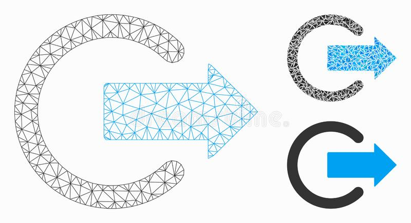 Logout Vector Mesh Carcass Model and Triangle Mosaic Icon. Mesh logout model with triangle mosaic icon. Wire carcass triangular mesh of logout. Vector mosaic of stock illustration