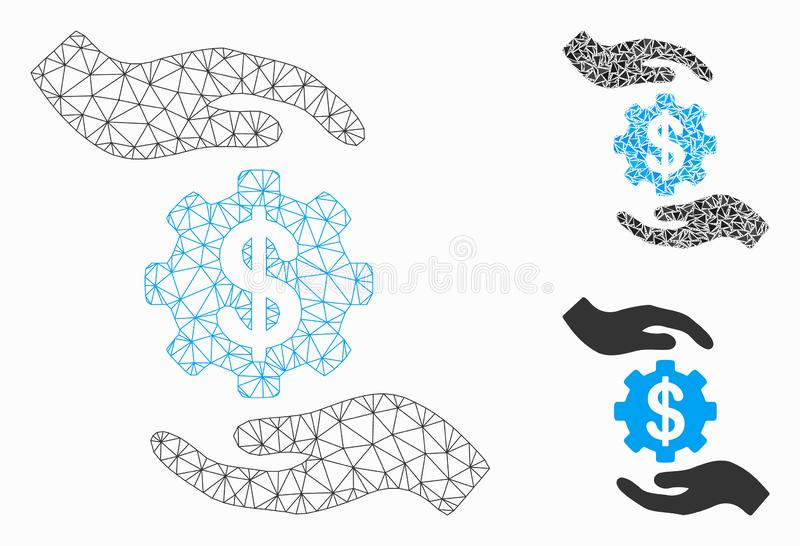 Maintenance Price Vector Mesh Carcass Model and Triangle Mosaic Icon. Mesh maintenance price model with triangle mosaic icon. Wire carcass polygonal mesh of stock illustration
