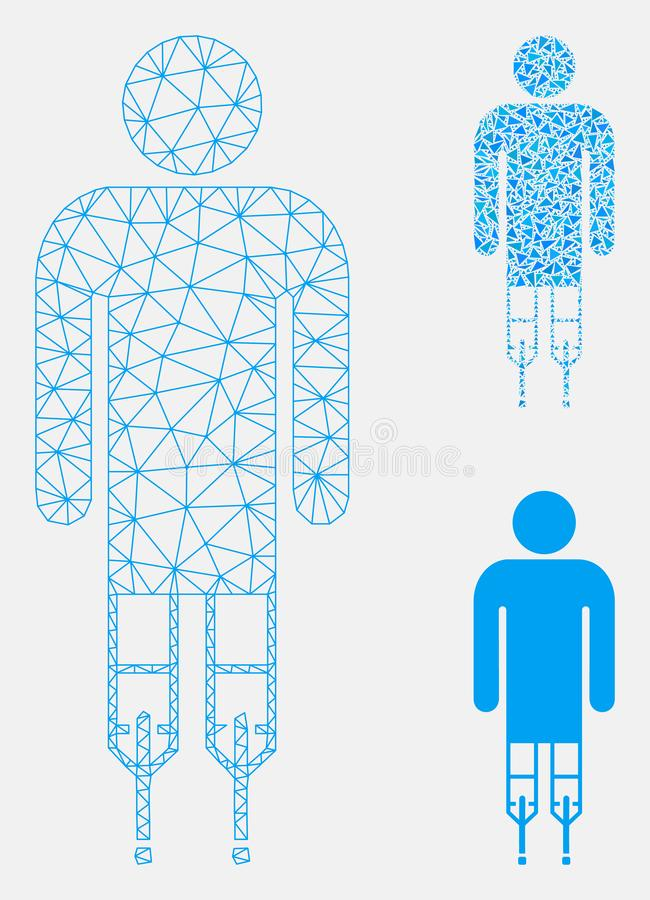 Man Crutches Vector Mesh Carcass Model and Triangle Mosaic Icon. Mesh man crutches model with triangle mosaic icon. Wire carcass polygonal mesh of man crutches stock illustration