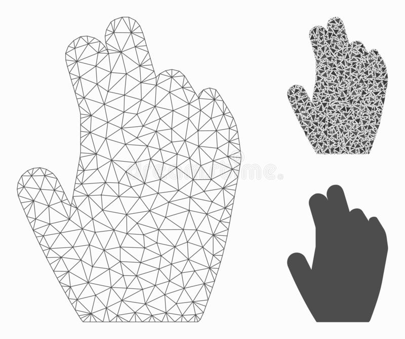 Manage Hand Vector Mesh Carcass Model and Triangle Mosaic Icon. Mesh manage hand model with triangle mosaic icon. Wire carcass polygonal network of manage hand vector illustration