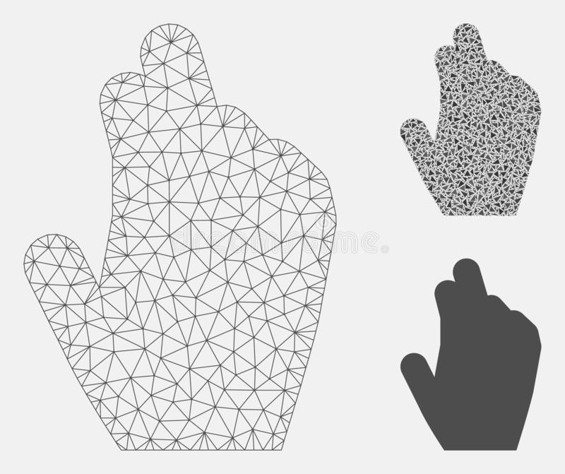 Manage Hand Vector Mesh Network Model and Triangle Mosaic Icon. Mesh manage hand model with triangle mosaic icon. Wire frame triangular mesh of manage hand vector illustration