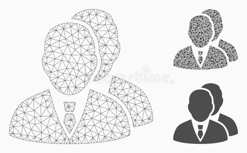Managers Vector Mesh Carcass Model and Triangle Mosaic Icon. Mesh managers model with triangle mosaic icon. Wire frame polygonal mesh of managers. Vector mosaic royalty free illustration