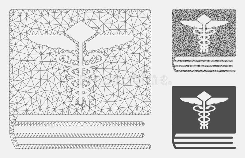 Medical Book Vector Mesh Carcass Model and Triangle Mosaic Icon vector illustration