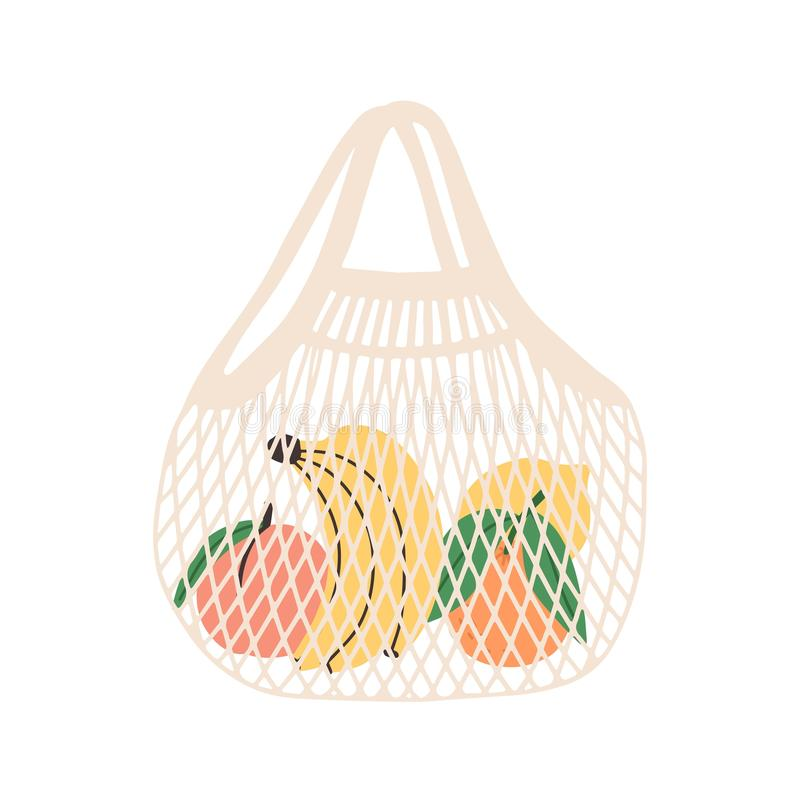 Mesh or net bag full of fruits isolated on white background. Modern shopper with fresh organic bananas, peaches, oranges. And lemons from local market. Vector royalty free illustration