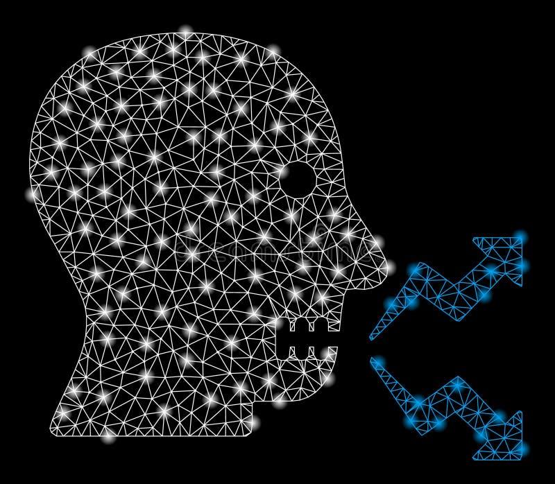Mesh Network Angry Person Shout intelligent avec les taches lumineuses illustration de vecteur