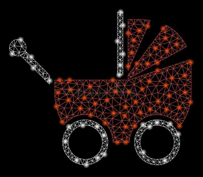 Mesh Network Baby Carriage brilhante com pontos instantâneos ilustração royalty free