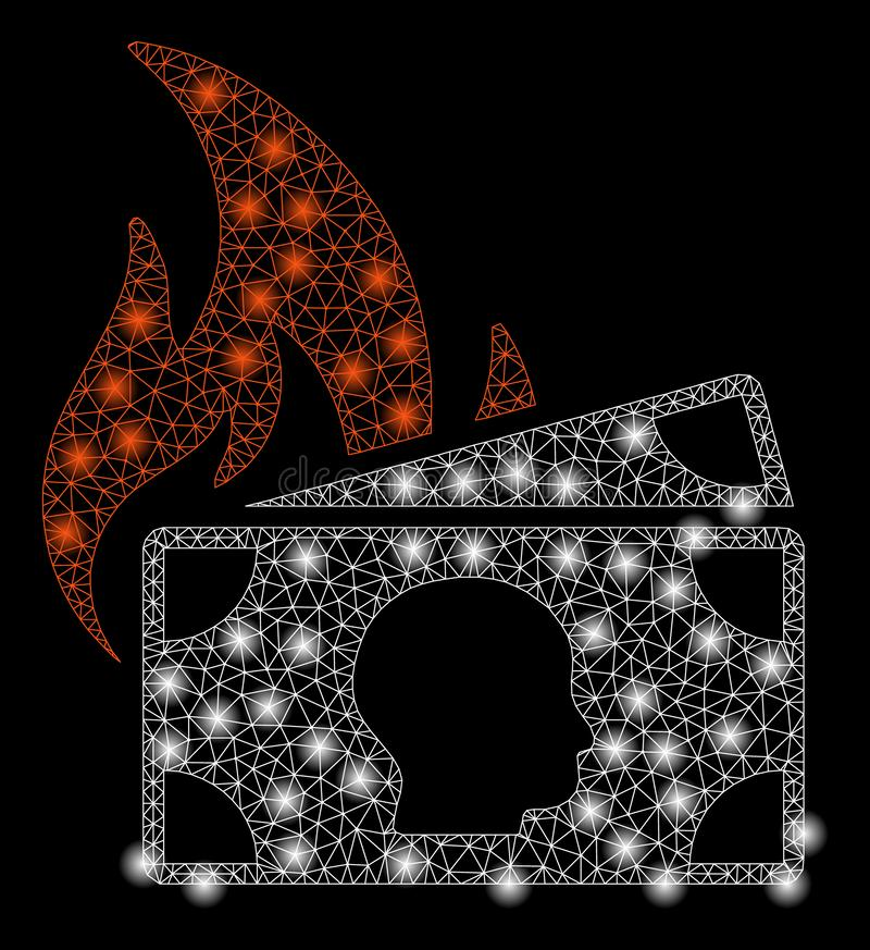 Mesh Network Banknotes Fire Disaster brilhante com pontos instantâneos ilustração do vetor