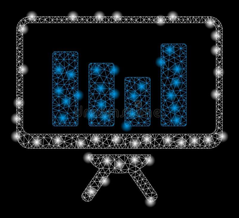 Mesh Network Bar Chart Monitoring brillante con los puntos de la llamarada libre illustration