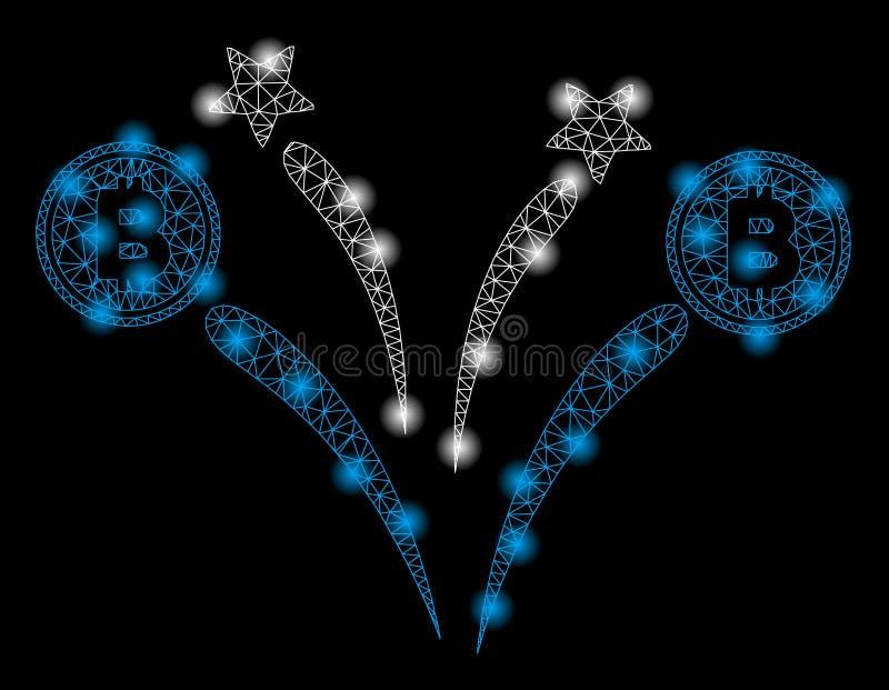 Mesh Network Bitcoin Fireworks intelligente con i punti istantanei royalty illustrazione gratis