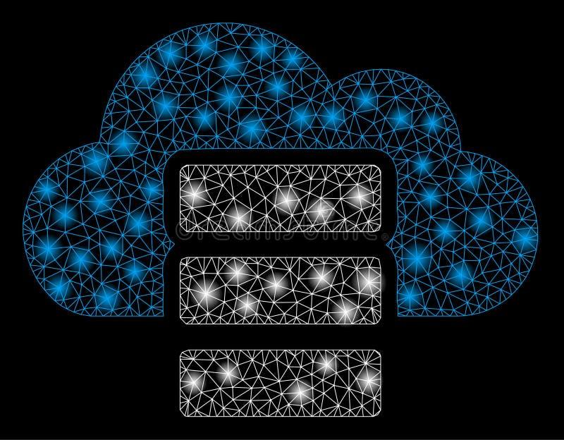 Mesh Network Cloud Database brilhante com pontos do alargamento ilustração do vetor