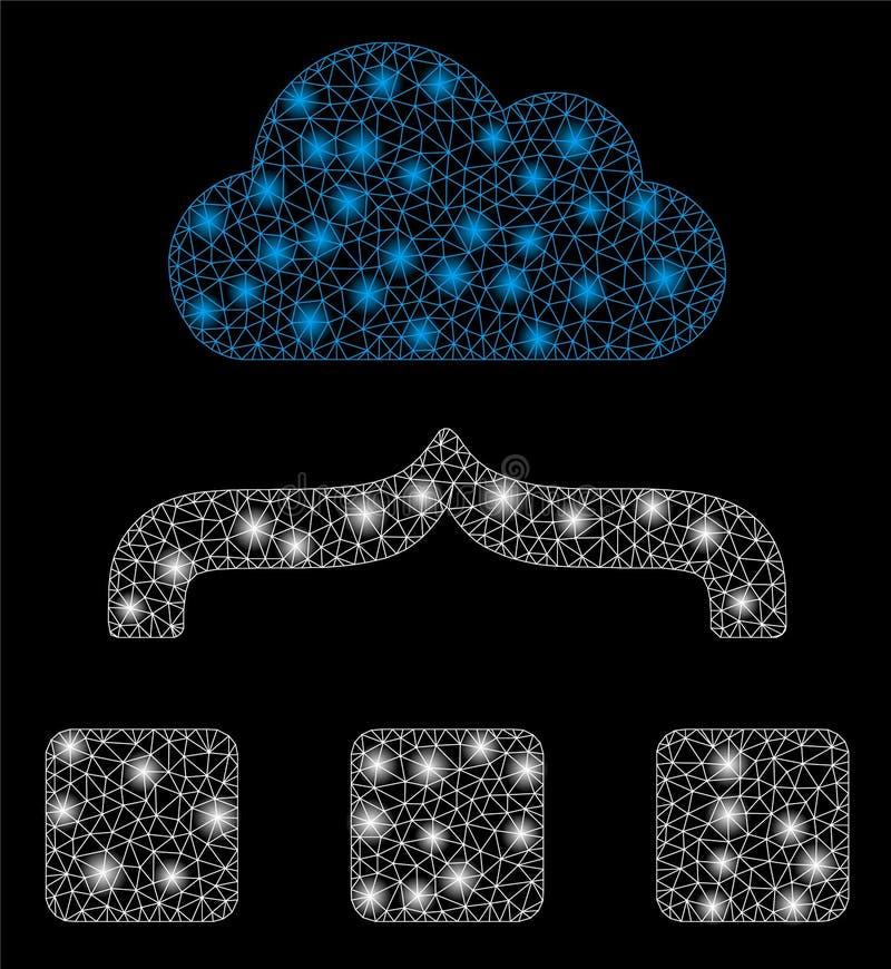 Mesh Network Combine Cloud brillant avec les taches instantanées illustration libre de droits