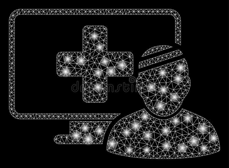 Mesh Network Computer Patient brillant avec les taches lumineuses illustration de vecteur
