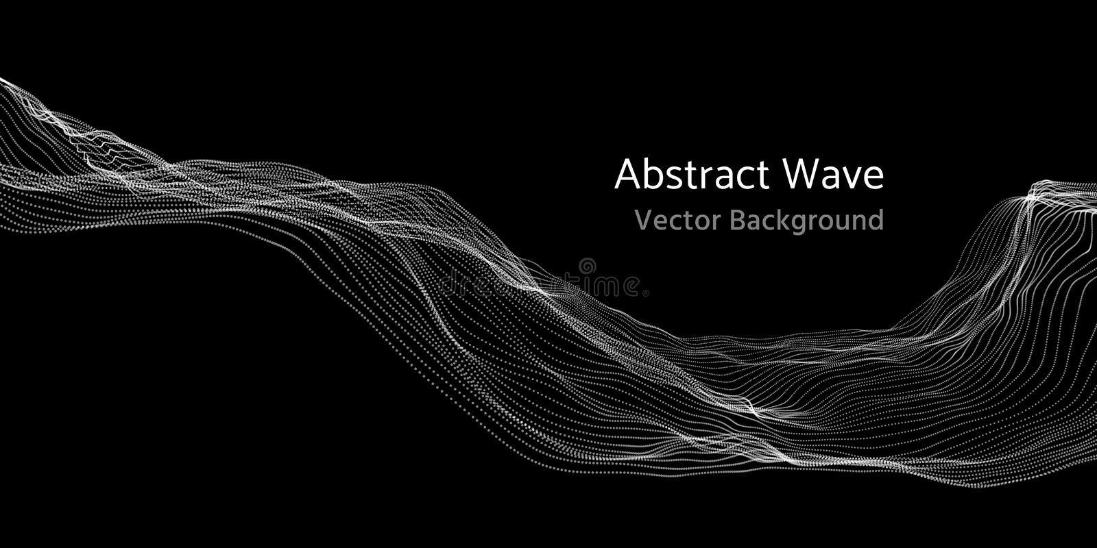 Mesh network 3d abstract wave and particles vector background royalty free illustration