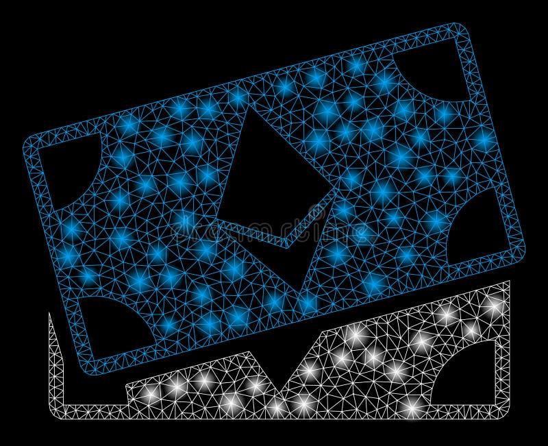 Mesh Network Ethereum Banknotes brilhante com pontos do alargamento ilustração royalty free
