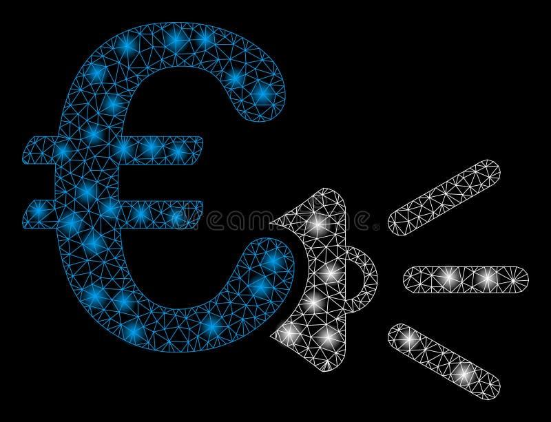 Mesh Network Euro Ads Megaphone intelligent avec les taches lumineuses illustration libre de droits