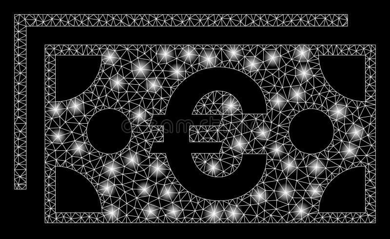 Mesh Network Euro Banknotes brilhante com pontos claros ilustração royalty free