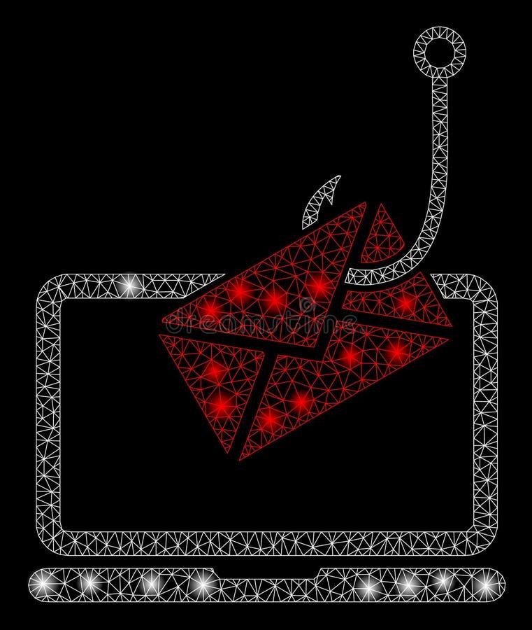 Mesh Network Laptop Letter Phishing que brilla intensamente con los puntos de la llamarada stock de ilustración