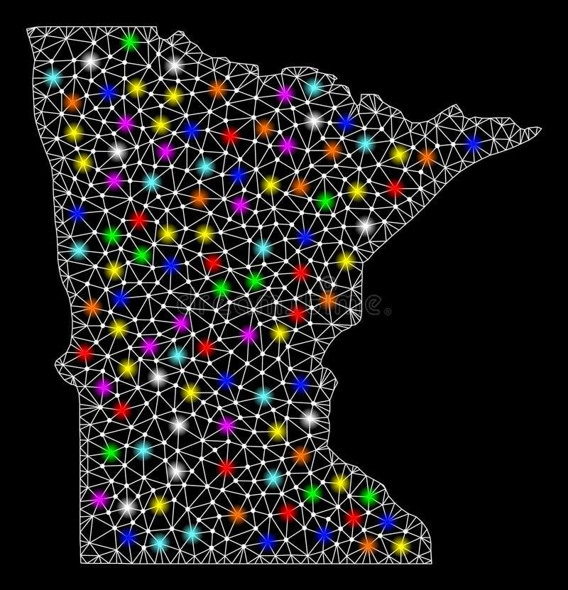 Mesh Network Map del estado de Minnesota con los puntos ligeros brillantes stock de ilustración