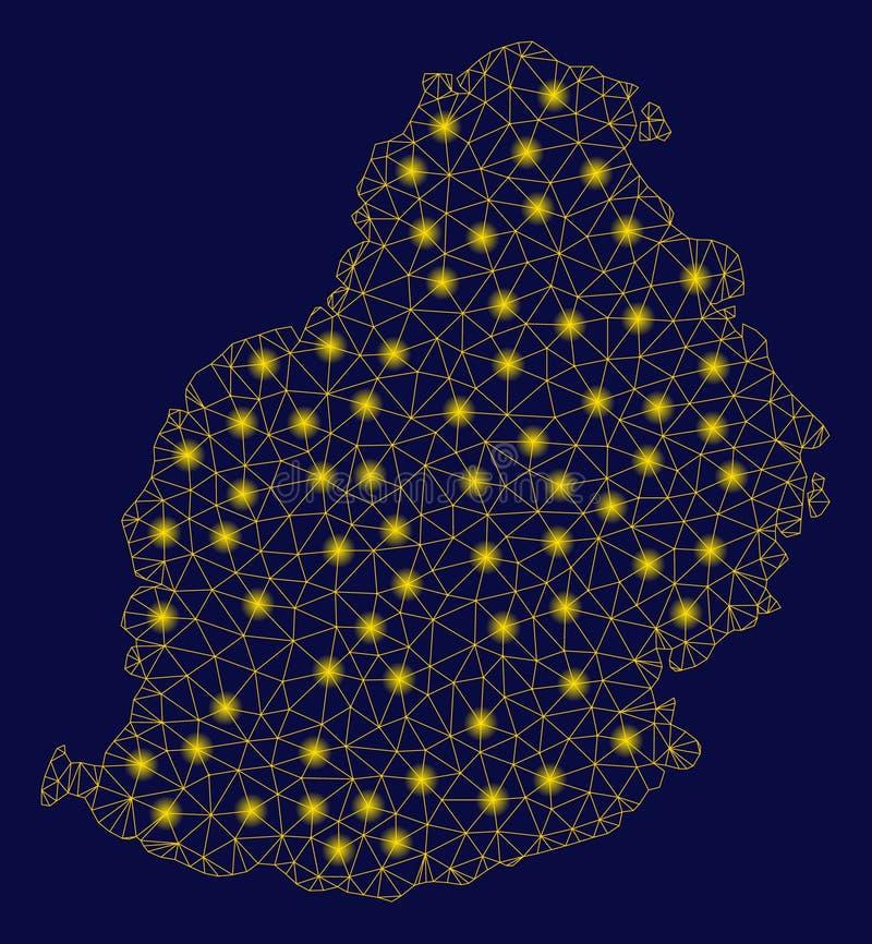 Mesh Network Mauritius Island Map amarelo com pontos instantâneos ilustração royalty free