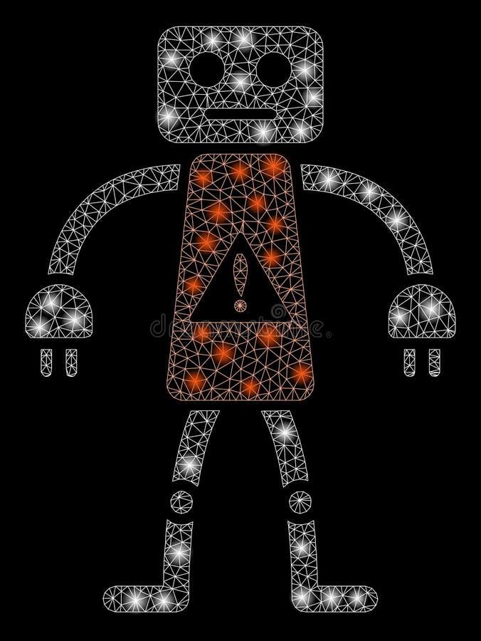 Mesh Network Robot Danger d'ardore con i punti istantanei illustrazione vettoriale