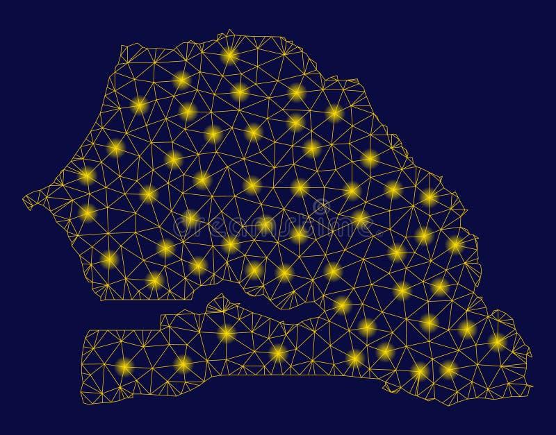 Mesh Network Senegal Map amarelo com pontos instant?neos ilustração royalty free