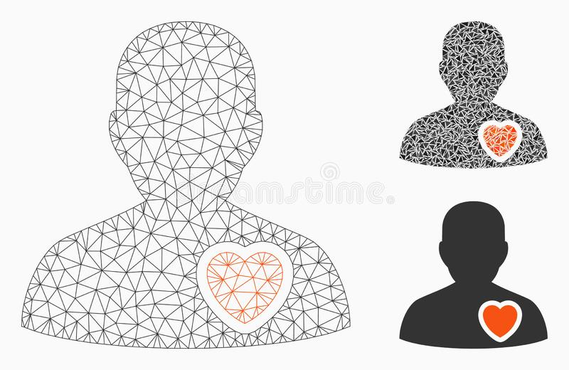 Patient Heart Vector Mesh Carcass Model and Triangle Mosaic Icon. Mesh patient heart model with triangle mosaic icon. Wire carcass polygonal mesh of patient royalty free illustration