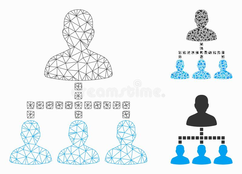 People Hierarchy Vector Mesh Wire Frame Model and Triangle Mosaic Icon royalty free illustration