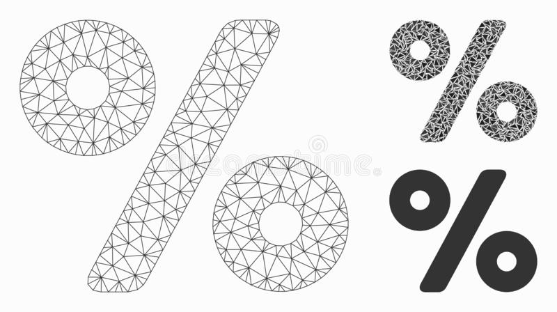 Percent Vector Mesh Carcass Model and Triangle Mosaic Icon. Mesh percent model with triangle mosaic icon. Wire carcass triangular mesh of percent. Vector mosaic stock illustration
