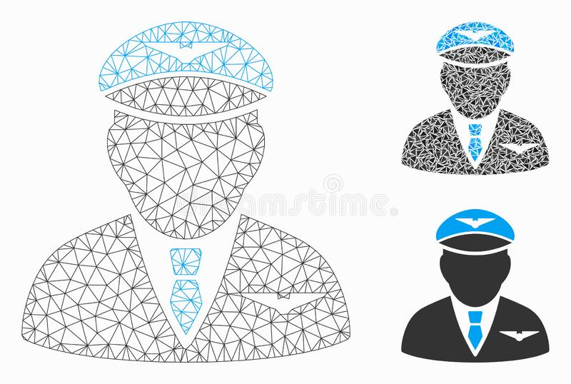 Pilot Vector Mesh 2D Model and Triangle Mosaic Icon stock illustration