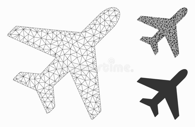 Plane Vector Mesh Carcass Model and Triangle Mosaic Icon. Mesh plane model with triangle mosaic icon. Wire carcass triangular mesh of plane. Vector mosaic of royalty free illustration