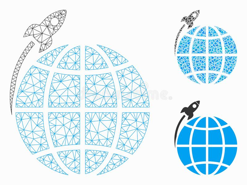 Planet Satellite Launch Vector Mesh Network Model and Triangle Mosaic Icon stock illustration