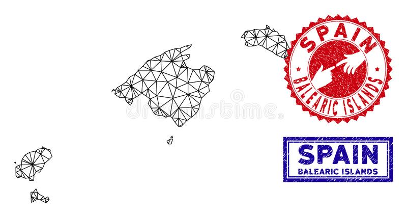 Polygonal Wire Frame Balearic Islands Map and Grunge Stamps royalty free illustration