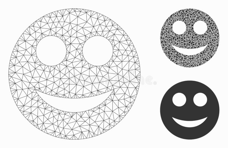 Positive Smiley Vector Mesh Network Model and Triangle Mosaic Icon. Mesh positive smiley model with triangle mosaic icon. Wire frame polygonal mesh of positive stock illustration