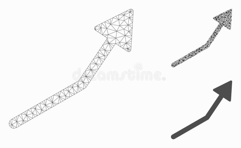 Positive Trend Arrow Vector Mesh Wire Frame Model and Triangle Mosaic Icon. Mesh positive trend arrow model with triangle mosaic icon. Wire carcass polygonal vector illustration