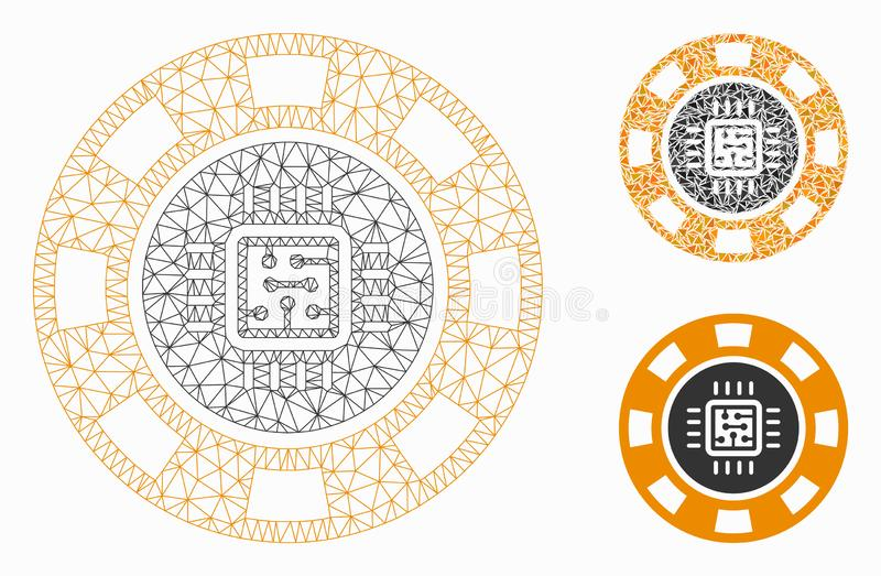 Processor Casino Chip Vector Mesh Carcass Model and Triangle Mosaic Icon. Mesh processor casino chip model with triangle mosaic icon. Wire carcass polygonal mesh royalty free illustration