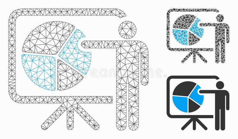 Public Report Vector Mesh Carcass Model and Triangle Mosaic Icon. Mesh public report model with triangle mosaic icon. Wire frame triangular mesh of public report royalty free illustration