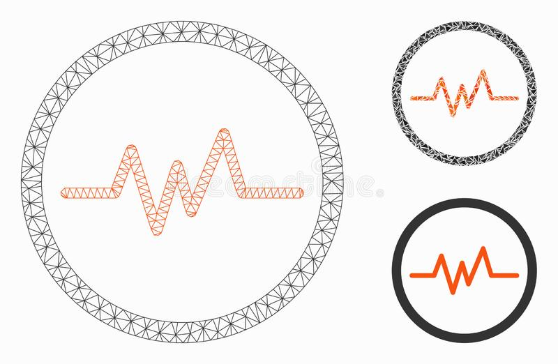 Pulse Monitoring Vector Mesh 2D Model and Triangle Mosaic Icon. Mesh pulse monitoring model with triangle mosaic icon. Wire frame triangular network of pulse royalty free illustration