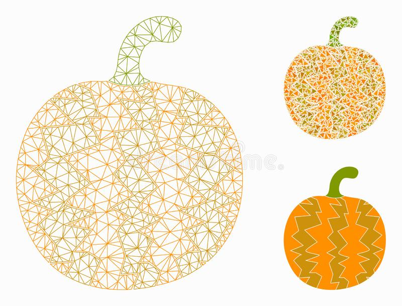 Pumpkin Vector Mesh Carcass Model and Triangle Mosaic Icon. Mesh pumpkin model with triangle mosaic icon. Wire carcass polygonal mesh of pumpkin. Vector mosaic royalty free illustration