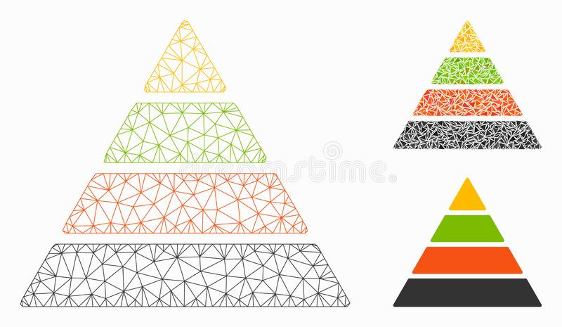 Pyramid Vector Mesh Carcass Model and Triangle Mosaic Icon. Mesh pyramid model with triangle mosaic icon. Wire carcass triangular mesh of pyramid. Vector mosaic vector illustration