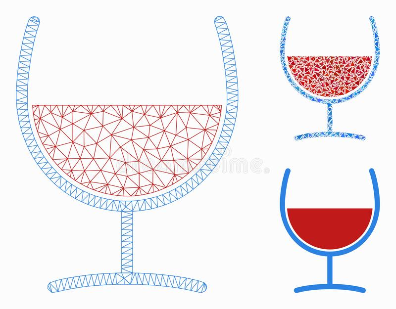 Red Wine Glass Vector Mesh Carcass Model and Triangle Mosaic Icon. Mesh red wine glass model with triangle mosaic icon. Wire carcass triangular mesh of red wine stock illustration