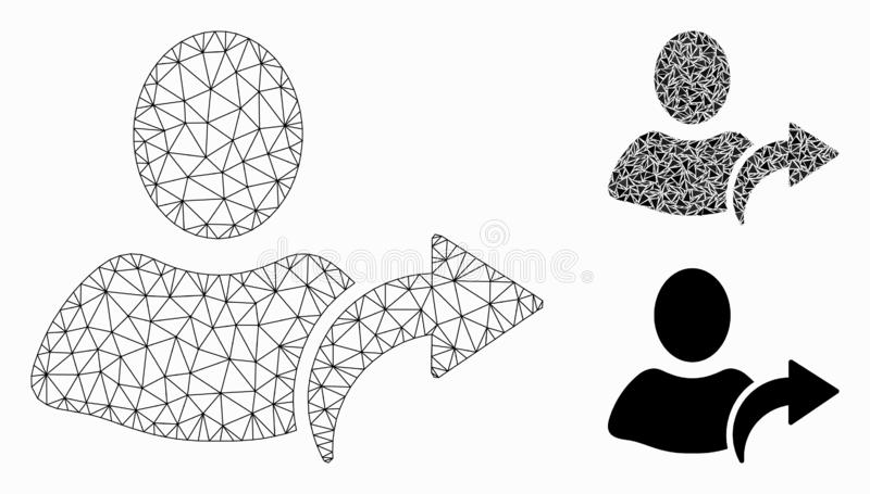 Redo Vector Mesh Network Model and Triangle Mosaic Icon. Mesh redo model with triangle mosaic icon. Wire carcass polygonal mesh of redo. Vector mosaic of stock illustration