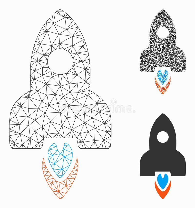 Rocket Vector Mesh Wire Frame Model and Triangle Mosaic Icon stock illustration